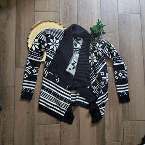Express snowflake cardigan sweater striped S
